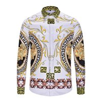 Luxury 3D Digital Printed Shirts Mens autunno Turn Down Collare Tees Fashion Designer Slim Mens Tees