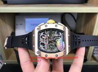 Best seller Mens classico Super 7750 di titanio quadrante Torna oro attraverso il cronografo automatico neri orologi in gomma inferiore del movimento di copertura