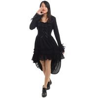 Femmes Black Punk Gothique Robe Princesse Lolita Ourlet irrégulier À manches longues Avaler La queue Robes De Dentelle avec Sautoir