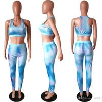Gradient Farbe ärmelAnzug gedruckte Polyester-Faser Freizeit Schönheit Mode Frauen Heim Kleidung 2pcs ein Satz 39hm E1