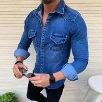 Autunno Lavato slim fit Jeans Camicie Tops Moda Streetwear Nizza jeans di moda maschile Giacche Cappotti casual Giacca manica lunga da uomo