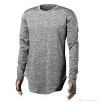 Hommes Designer Automne T-shirts doigt Longline courbé rue solide Couleur hommes Hauts manches longues Skinny T-shirt