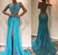 2019 Vestido de noche largo barato Dubai Front Split Open Back Sequined Holiday Women Wear Formal Party Prom Gown Custom Made Plus Size