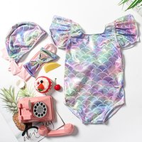 Kids Girl Mermaid Swimwear One- piece Ruffle Sleeve Backless ...