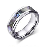 メンズ花婿婚約記念日リングウェディングジュエリーTCR-026用シェルインレイシルバードーム幾何学デザインエッジタングステンリング