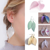 New Fashion Womens Natural Leaf Dangle Earrings Unique 24K G...