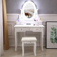 Inizio Vanity trucco tavolo e sedia Set, Pretend Beauty Make Up Sgabello Gioca Set con lo specchio, bianca di legno Vanità, Make Up tavolo e sgabello set