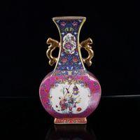 Collection old Chinese Cloisonne Porcelain Handwork Painting Child Vase w Yongzheng Mark Vintage oriental Folk Art