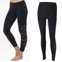 Hirigin New Mode Pantalon taille haute Découpez trous sexy pantalon creux filles leggings noir approvisionnement direct d'usine