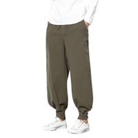 LNCDIS Nouveau Printemps Automne Hommes Pantalons Pure Color Cotton Linen petits pieds en vrac Casual Lantern Pantalon A1
