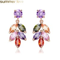 New Fashion Colorful Zircon Leaf Earrings for Women Rose Gol...