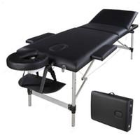 와코 휴대용 마사지 침대, 스파 페이셜 뷰티 가구, 접는 알루미늄 튜브, 보디 빌딩 테이블 키트 - 블랙