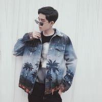 Herrenjacke Mode Hohe Qualität Jeansjacke Männer Frauen Kokosnussdruck Sprayfarbe Mantel Hip Hop W628