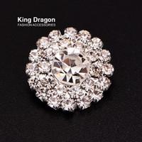 Clear Rhinestone-knop gebruikt op kleding decoratie of gebruikt op hoofdband 18mm 20pcs / lot zilver kleur shank back button shop kd173