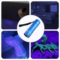 365nm portatile impermeabile Ultraviolet 9 LED torce elettriche della luce UV della torcia per la caccia di denaro Scorpion Checker Detection senza Batt