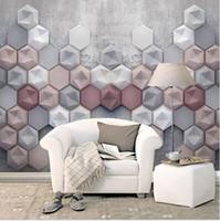 Gran mural 3D sencilla papel de la pared de fondo de TV sofá papel de la pared de cemento patrón geométrico salón dormitorio en tres dimensiones