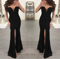 Sexy Mermaid Robe De Soiree Lange schwarze Abendkleider mit V-Ausschnitt und seitlichem Schlitz ärmellose Vestido De Festa Satin Prom Kleider