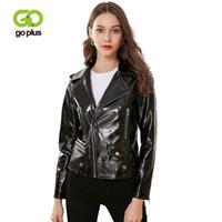 Женская кожаная из искусственной гапушки Gophook Paltent Moto Biker Куртки поворотный воротник короткие черные пальто Курки Ramoneska Veste EN CUIR C9529