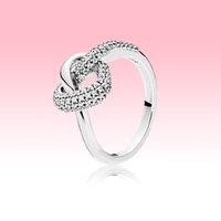 Neue Ankunft Geknotete Herz Ring Frauen Hochzeit Liebe Schmuck Für Pandora 925 Sterling Silber Mädchen Verlobungsherzen Ringe mit Original Box