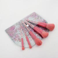 5pcs bonbons sucette licorne cristal maquillage pinceaux ensemble coloré belle fondation mélange pinceau maquillage outil maquillaje