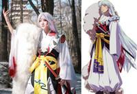Kadınlar / Erkekler Custom Herhangi Boyutu için yeni Japon Anime InuYasha Sesshoumaru Cosplay Kostüm Kimono + Zırh + Kuyruk Tam Set Karnavalı Cadılar Bayramı Kostüm