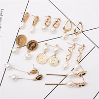 New Gold Color Irregular White Pearl Drop Earrings Female Ge...