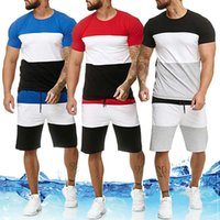 Men' s Sets Mens 2 Piece Outfit Sport Set Stripe Print S...