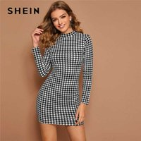 SHEIN Black and White Mock Neck Houndstooth Print Bodycon Dr...