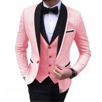 Neueste Mantel Hose entwirft rosa Mode-Mann-Klage Slim Fit Bräutigam Smoking 3 Stück nach Maß Hochzeitsanzüge Prom Blazer Set