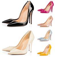 2020 scarpe da donna di lusso stilista tacchi alti tripla nero rosso giallo picco nuda per nozze fondali del partito ha sottolineato le dita dei piedi Scarpa