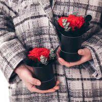 DIY подарки украшения Круглое цветок Box Бумажный цилиндр Букет Box Rose Упаковка подарка Box Большой Упаковка для подарков Новые продукты
