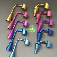Arco iris de colores de titanio uñas azul de oro rosa de titanio GR2-Dome menos Cubos Banger Nails 10mm 14mm 18mm 6 en 1 para el cristal Bongs