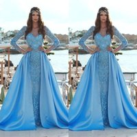 2019 New Elegant Blue Sky Mermaid Prom Dresses con treno staccabile maniche lunghe in pizzo Appliques Paillettes abiti da sera formale arabo BC0638