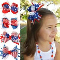 Independência Bebés Meninas dia do cabelo Pin Stripe Estrela Impresso Bow Crianças Barrette Moda Infantil bandeira americana grampo de cabelo Impresso Y2284