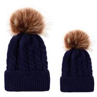 Ensemble de casquettes hiver parent-enfant Chapeaux en laine tricotée Unisexe Plis Étiquetage décontracté Bonnets Bonnet Bonnet uni Couleur Skullies Hip-Hop