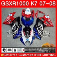 Carnado de Suzuki GSXR 1000 GSX-R1000 K7 GSXR-1000 07 08 Bodywork 12HC.79 GSX R1000 GSXR1000 07 08 2007 2008 2008 2008 Kit de cuerpo caliente azul rojo azul rojo
