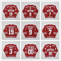 Custom University Boston # 3 charlie coyle # 7 Charlie McAvoy # 9 Jack Eichel # 19 Clayton Keller # 20 Diffley Red Hockey Jersey parches cosidos