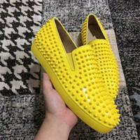 ACE Designer Moda Kırmızı Alt Çivili Spike Flats Ayakkabı Erkekler Kadınlar Için Glitter Parti Severler Hakiki Deri Rahat Loafer'lar