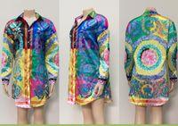 Neue Frauen beiläufige reizvolle Hemd-Kleid-Revers-Ansatz-lange Hülsen-mit Blumen gedruckte Minikleider Frauen-Kleidung A276