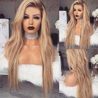 새로운 여성 패션 옹 브론 금발 긴 곱슬 머리 가발 숙녀 바디 물결 모양의 코스프레 가발