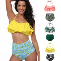 Women High waist print swimsuit swimming two- piece sleeveles...