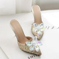 2020 Sparkly стилет каблук кристаллы Свадебная обувь невесты из бисера Роскошные дизайнерские Каблуки Золушка Насосы Poined Toe Стразы Свадебная обувь