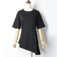 [EWQ] 2019 Estate manica corta Nuovo O Collo solido di colore asimmetrico casuale superiore Trend alta Large Size Donna T-shirt QJ7580