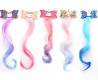 "3 ""Accesorios para el cabello de lentejuelas Unicorny Play Clips para las niñas Arco iris Glitter Alas Bow Pein Bows Princess Kids Long Wig Horquillas"