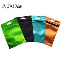 8,5 * 13cm Matte Clear Plastic Front Zip Lock Alluminio Sacchetti di imballaggio Sacchetto richiudibile Zipper Top Colorato Mylar Sacchetto di drogheria traslucido