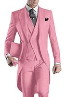 3 pezzi rosa Uomini Tailcoat Suits smoking dello sposo picco risvolto uomini vestito per la festa nuziale di promenade Cena Blazer Gilet (Jacket + Pants + Vest + Tie)