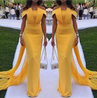 Arabisch gelb von der Schulter Satin Lange Abendkleider 2019 Geraffte Rüschen Mermaid Formale Party Prom Kleider