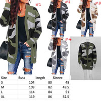 Fashion New pattern V Neck camo print Knit Sweater Women Loo...