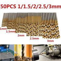 50 PCS HSS الكوبالت حفر تويست الأحرار المشارك لالمعدن الصلب الفولاذ المقاوم للصدأ عالية السرعة الصلب ساق مستقيم HSS سبائك التيتانيوم حفر مجموعة 1MM-3MM
