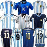Coppa del Mondo Retro 1986 Argentina Home Soccer Jersey Messi Maradona Caniggia 1978 1996 Camicia da calcio Batistuta 1998 Riquelme 2006 1994 Ortega